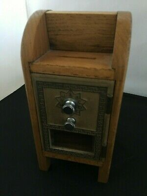 Vintage Post Office Door Mail Box Postal Bank Mailbox Wood Box with Combo Lock