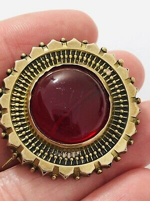 Antique victorian  gilt metal  Red stone brooch