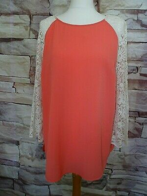 Laura Ashley lace sleeved blouse peach coral size 16