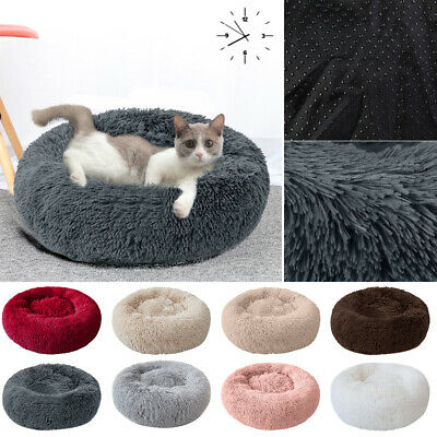 Pet Dog Cat Calming Bed Warm Soft Plush Round Nest Comfy Sleeping Kennel Cave UK