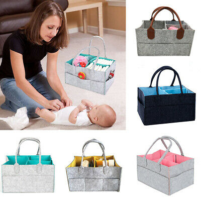 Baby Infant Diaper Organizer Caddy Felt Changing Nappy Storage Carrier Bag Pouch