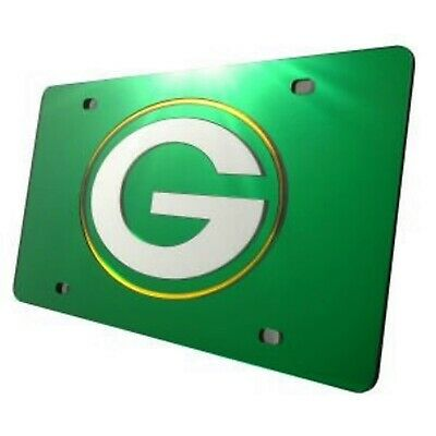Green Bay Packers Premium GREEN Laser Tag Acrylic Inlaid License Plate Football
