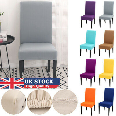 Removable Stretch Chair Slipcovers Plain Short Dinning Room Seat Covers UK STOCK