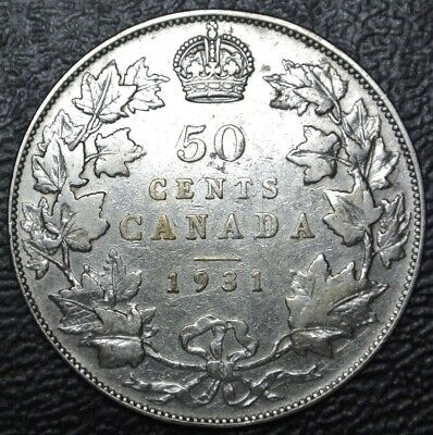 OLD CANADIAN COIN 1931 - 50 CENTS - .800 SILVER - George V - Semi-KEY DATE