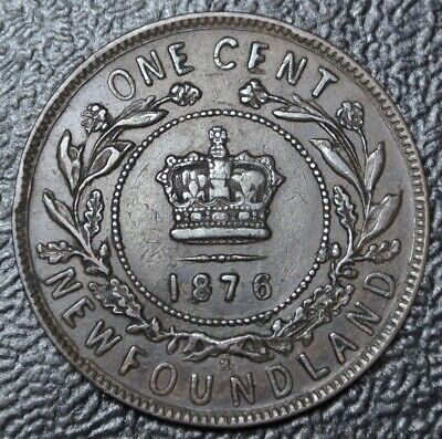 OLD CANADIAN COIN 1876 H NEWFOUNDLAND - ONE CENT - COPPER - Victoria - Nice Coin