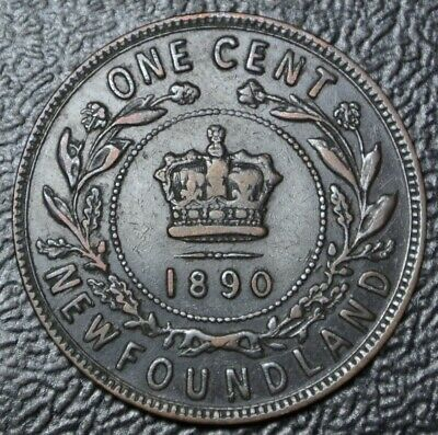 OLD CANADIAN COIN 1890 NEWFOUNDLAND - ONE CENT - COPPER - Victoria - Nice DETAIL