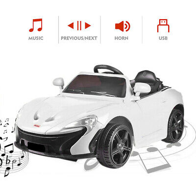 12V 3Speed Electric Ride On Sports Car Kid Power Toy Remote Control Player White