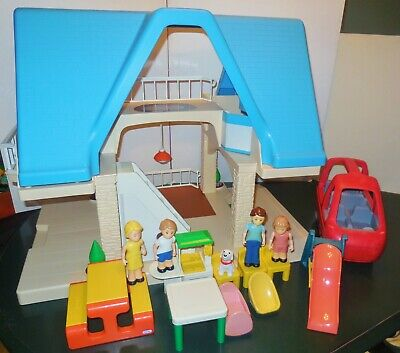 Htf Little Tikes Vintage Dollhouse Family Blue Roof House Figures Furniture Lot