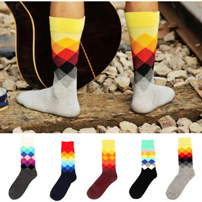 Unisex Men Women Fashion Argyle Cotton Casual Socks England Stockings Hosiery