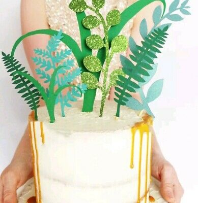 7pcs Nature Green Plant Jungle cake topper Party Leave Tree glitter toppers