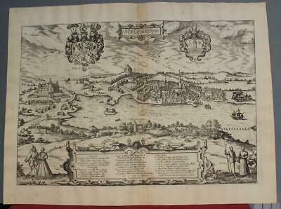 Schleswig Germany 1582 Braun/Hogenberg Unusual Antique Copper Engraved View