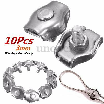 10Pcs 3mm Clips 316 Stainless Steel Wire Rope Simple Grips Cable Clamps Calipers