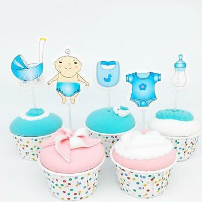 Baby Shower Cupcake Toppers Boy Girl Favors Party Birthday Cake Card Decor CZ