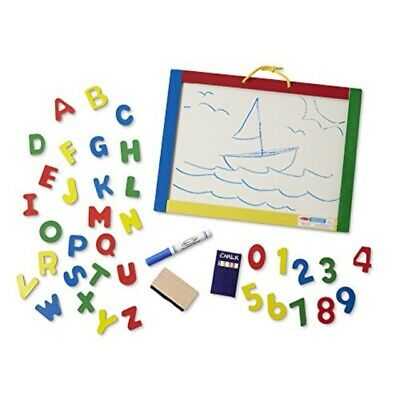 Melissa /& Doug MAGNETIC CHALK /& DRY-ERASE BOARD With Numbers//Letters Toddler BN