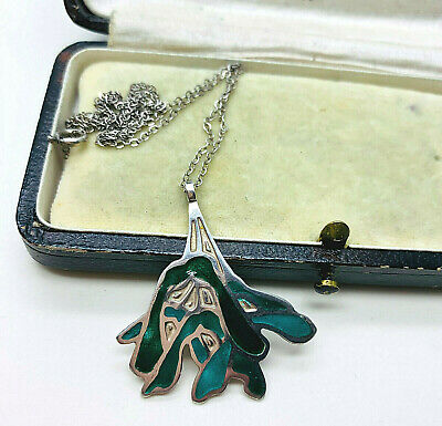 Vintage Norman Grant Sterling Silver Scottish Enamel Flower Pendant