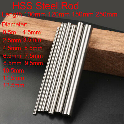 0.5mm-12.5mm 100 150 250mm HSS Steel Round Rod Bar Axis Metal Shaft Metalworking