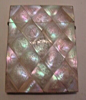 Antique decorated  mother of pearl covered calling card case
