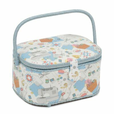 SEWING BOX BASKET LARGE HAMPER STYLE /& LARGE OVAL in /'SEW SPECIAL/' DESIGN