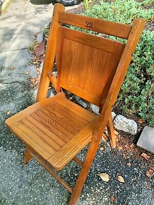 Antique South Paris ME Folding Wood  Slatted Folding Chair Garden Bistro