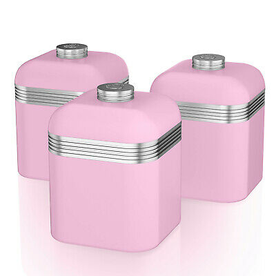 Swan Retro Set of 3 Pink Tea Coffee Sugar Spices Canisters Storage Containers