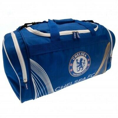 Chelsea Football Club Crest Large Blue & White Sports Bag Holdall MX