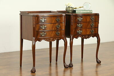 Pair of Traditional Mahogany Lamp Tables or Nightstands Carved Paw Feet #31708