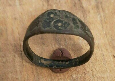 Ancient Celtic Bronze  Ring With 2 Evil Eye Motifs
