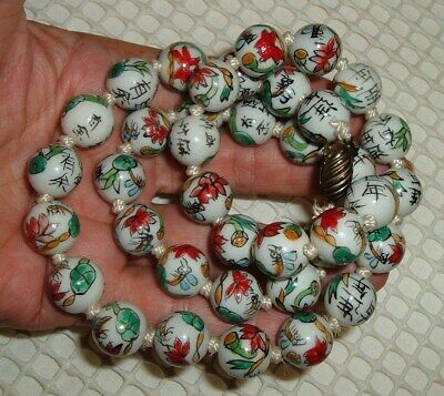 """24"""" Vintage Chinese Necklace Hand Painted Flower Bugs Ceramic Beads Silk Knots"""