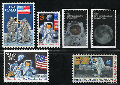 First Man On The Moon ** 1969 Apollo 11 ** 6 Us Postage Stamps Mint