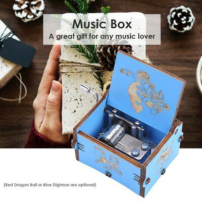 Retro Wooden Hand Cranked Music Box Case Home Crafts Ornaments Children Gifts