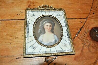 19thC Antique Victorian Lady French Miniature Painting Signed Ornate Frame
