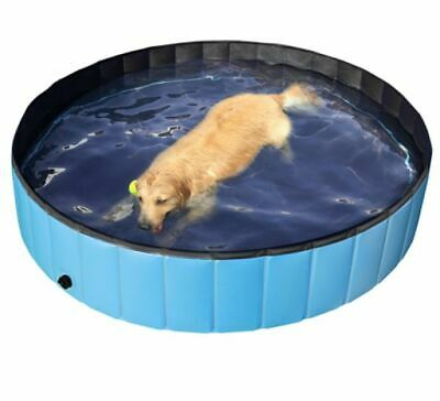 """EasyFashion Portable Outdoor Foldable Pet Dog Swimming Pool, Blue, 63"""" New Large"""