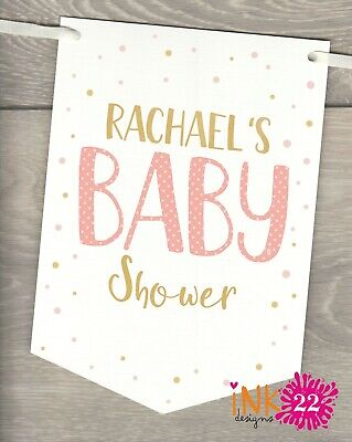 Personalised baby shower mum to be Decoration Banner Bunting flags Rose / Gold