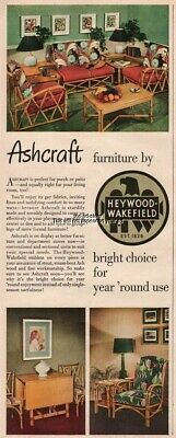 1949 Ashcraft Cane Furniture By Heywood Wakefield Porch Patio Magazine Print Ad