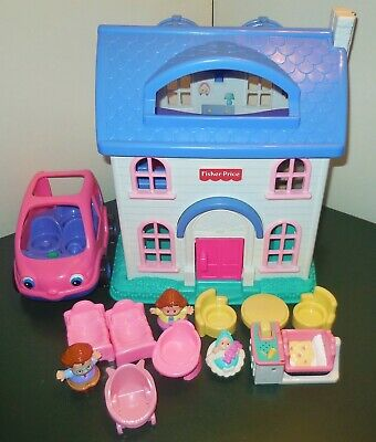 Fisher Price Little People First Preschool Dollhouse House Home Car Cradle Lot