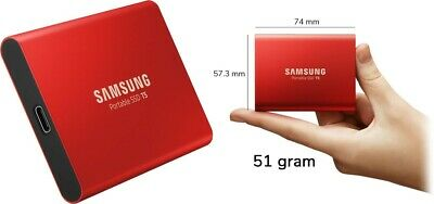 """Samsung T5 1TB 2.5"""" USB 3.1 Type C Portable External Solid State Drive SSD RED/"""
