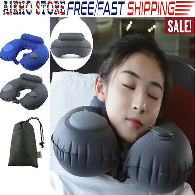 U-shaped Automatic Inflatable Travel Pillow Airplane Car Neck Head Rest Support