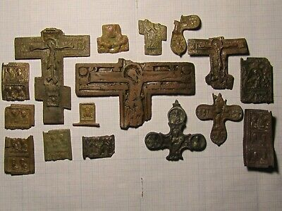 Parts of ancient icons and crosses of the 18th century. lot №9