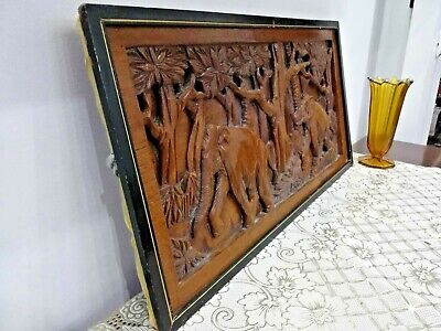 Antique Hand Carved Picture Wooden African Elephants Jungle Wall Oak wood 1900s