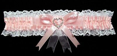 Wedding Garter Pink & White With Large Heart Diamante Centre