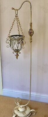 Large Vintage Coated Metal Glass Pillar Candle/Plant Holder On Stand  Unusual
