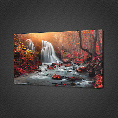 Beautiful Waterfall At Mountain River Canvas Print Wall Art Picture Photo
