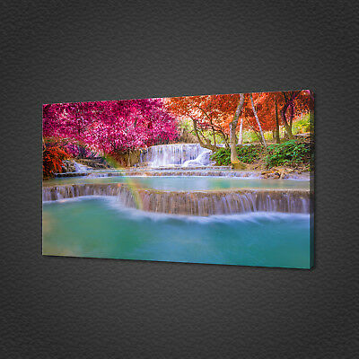 Beautiful Waterfall In Rainforest Rainbow Canvas Print Wall Art Picture Photo