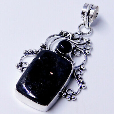 Rare Nuummite Black Onyx  925 Sterling Silver Plated Jewelry Pendant 8 Gm