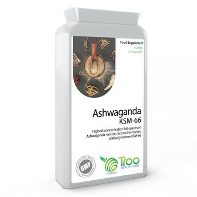 Ashwagandha KSM-66 500mg 90 Capsules Relaxes Stressed Moods Promotes Calm