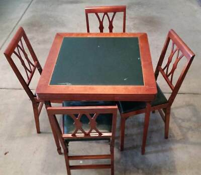 1930s-40s Leg-O-Matic Set - Folding Table & 4 Chairs - Wood/Vinyl - Camper - VG