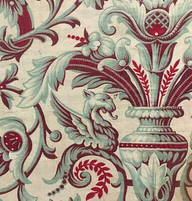 BEAUTIFUL  MID 19th CENTURY FRENCH LINEN COTTON INDIENNE DRAGONS GRIFFINS 424