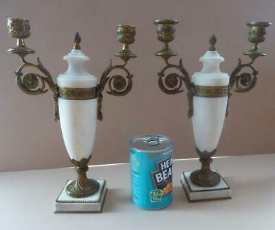 Antique FRENCH EMPIRE STYLE Ormolu and Marble Twin-Branch Urn Candelabras