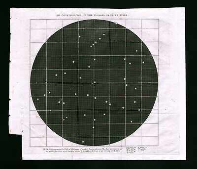 1809 Astronomy Map Pleiades Constellation or Seven Sisters Telescope Star Chart
