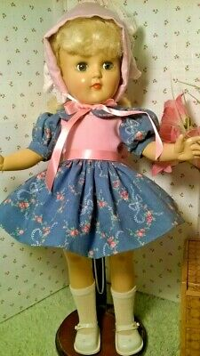 "SSO DOLL CLOTHES PINK & BLUE DRESS & HAT for 14"" P-90 TONI/ HONEY/15"" SHIRLEY TE"